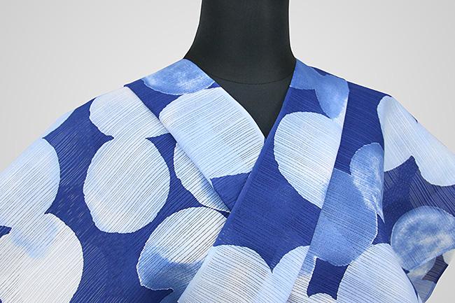IKS浴衣(ゆかた) オーダー仕立て付き カラフルモダン920 青×白 女性にオススメ