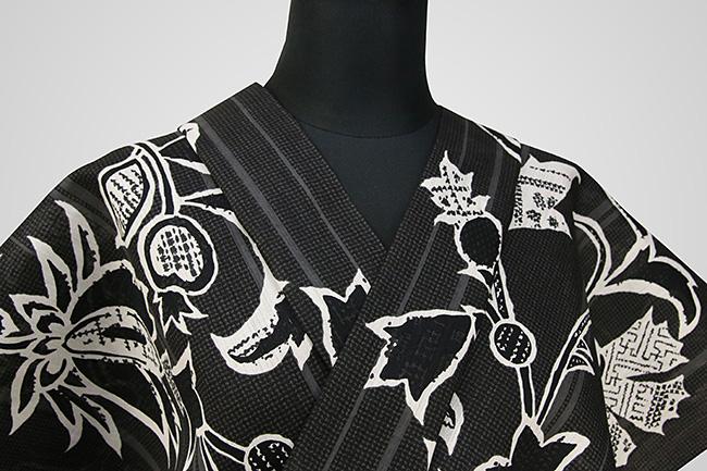 Kimono Factory nono 浴衣(ゆかた) 綿麻 オーダー仕立て付き 浴衣 誘い 黒 ◆男女兼用◆