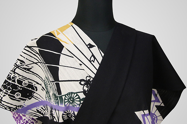 Rumi Rock(ルミロック)浴衣(ゆかた) オーダー仕立て付き 助六 黒×橙紫