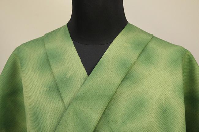 京都 藤井絞 はごろ木綿 オーダー仕立て付き 洗える普段着着物 雪花絞 黄緑