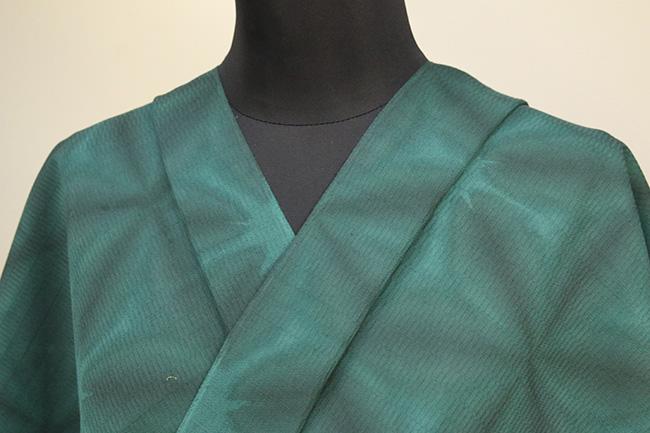 京都 藤井絞 はごろ木綿 オーダー仕立て付き 洗える普段着着物 雪花絞 緑