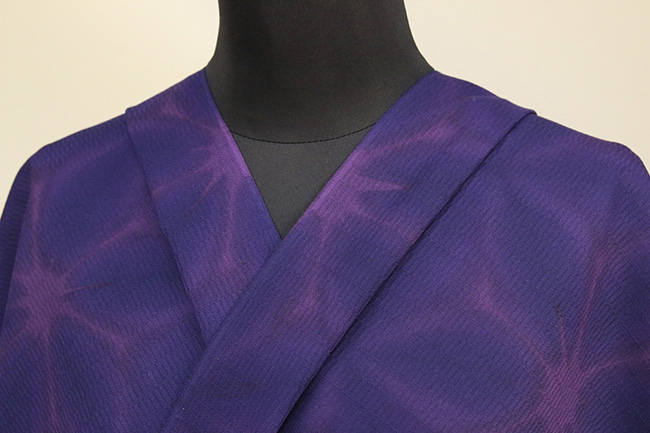 京都 藤井絞 はごろ木綿 オーダー仕立て付き 洗える普段着着物 雪花絞 紫