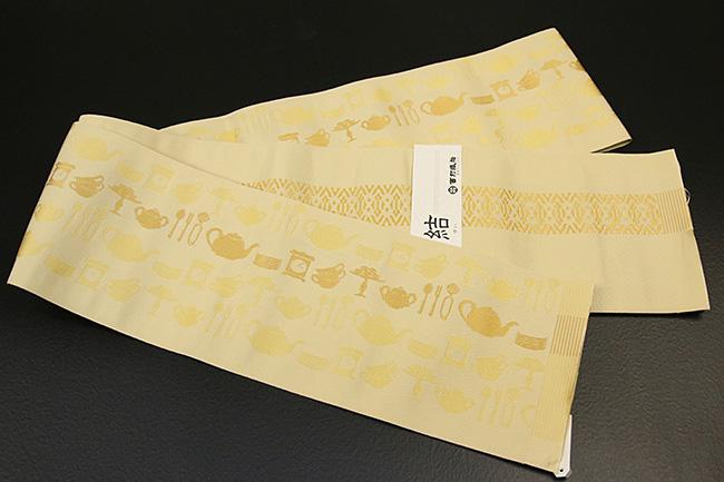 西村織物 結 博多織 正絹半幅帯 かがり仕立付 ティーセット 絹100% 黄