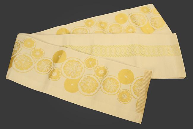西村織物 結 博多織 正絹半幅帯 かがり仕立付 シトラス 絹100% 薄黄