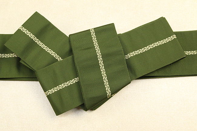 博多織 西村織物 角帯 正絹 鎖 深緑
