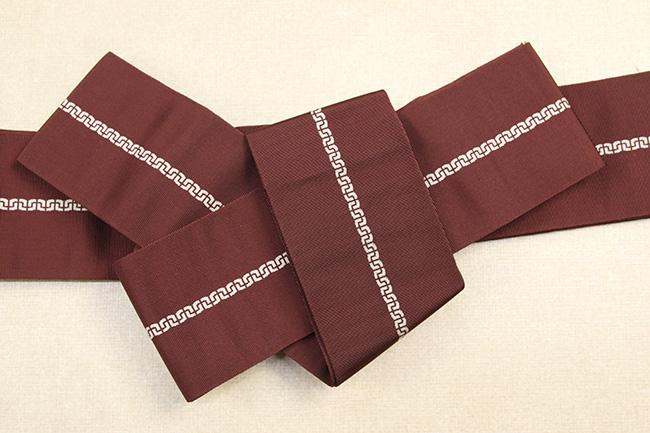博多織 西村織物 角帯 正絹 鎖 えんじ色