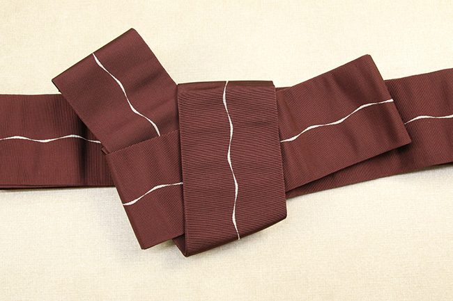 博多織 西村織物 角帯 正絹 波線 えんじ色