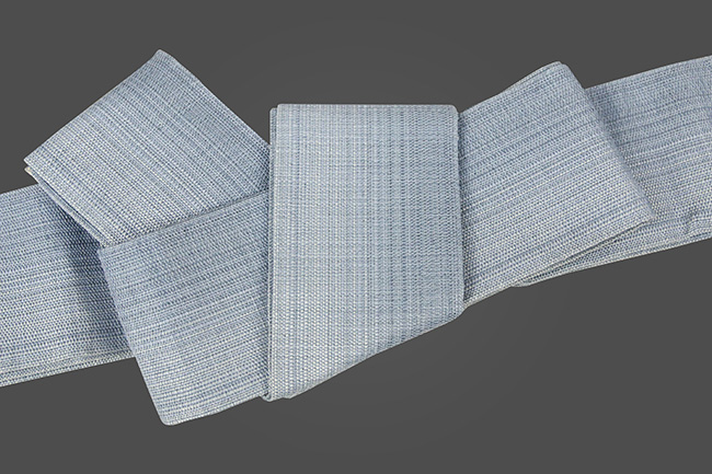 博多織 西村織物 角帯 麻 からむし織 青