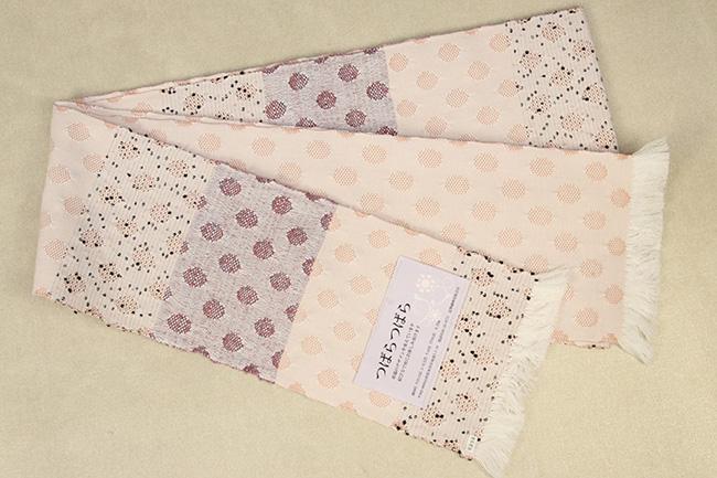 米沢織 近賢織物 半幅帯 つばらつばら 水玉 薄ピンク×白