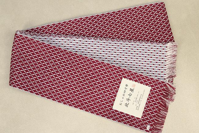 近賢織物 半幅帯 北斗七星 赤×白