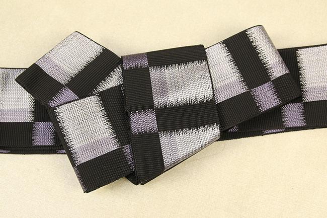 米沢織 近賢織物 角帯 東雲 黒×紫