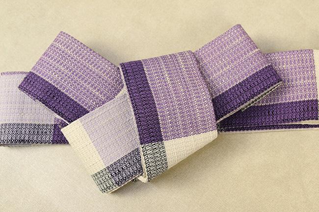近賢織物 宝来織 胡蝶 角帯 紫×黒