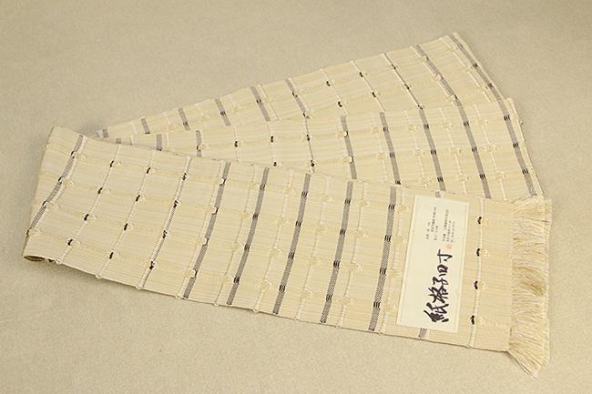 米沢織 近賢織物 半幅帯 紙格子四寸 生成り色×こげ茶