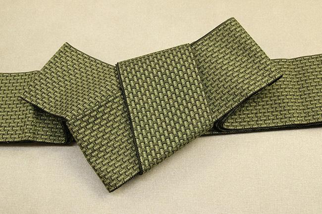 米沢織 近賢織物 角帯 織模様 黄