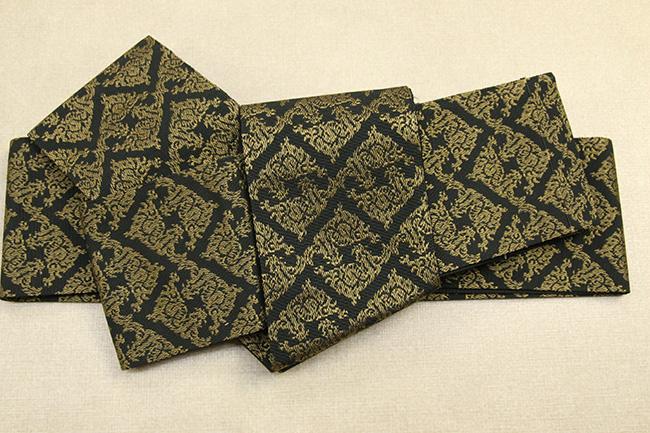 米沢織 近賢織物 角帯 遊粋 菱形紋 黒×金茶