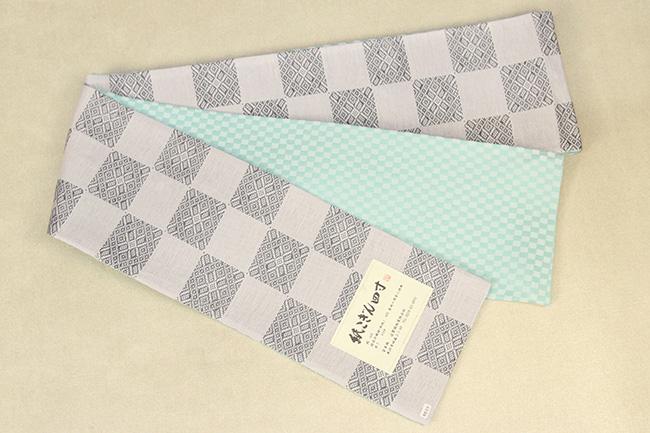 米沢織 近賢織物 半幅帯 紙こぎん四寸 市松 リバーシブル 薄灰 市松水色