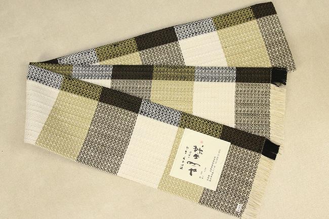 近賢織物 宝来織 胡蝶 半幅帯 正絹 白×黄×黒