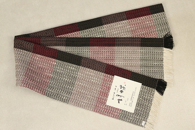 近賢織物 宝来織 胡蝶 半幅帯 正絹 赤×茶灰