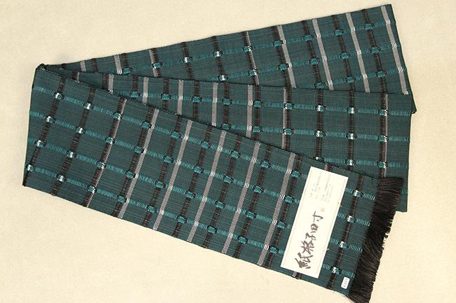 近賢織物 半幅帯 紙格子四寸 黒×緑