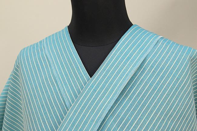 夏のKIPPE(きっぺ) 涼しま よねざわもめん 綿麻 オーダーお仕立て付き 青緑 ◆男女兼用◆ 06