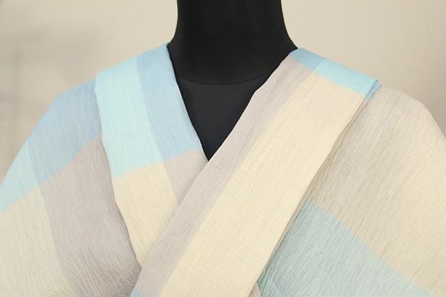 夏着物 小千谷ちぢみ 吉新織物 楊柳 オーダー仕立て付き チェック 水色×灰