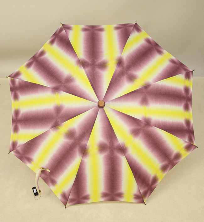 和小物さくら 板締め絞 日傘 UV加工 藤井絞生地使用 黄×紫