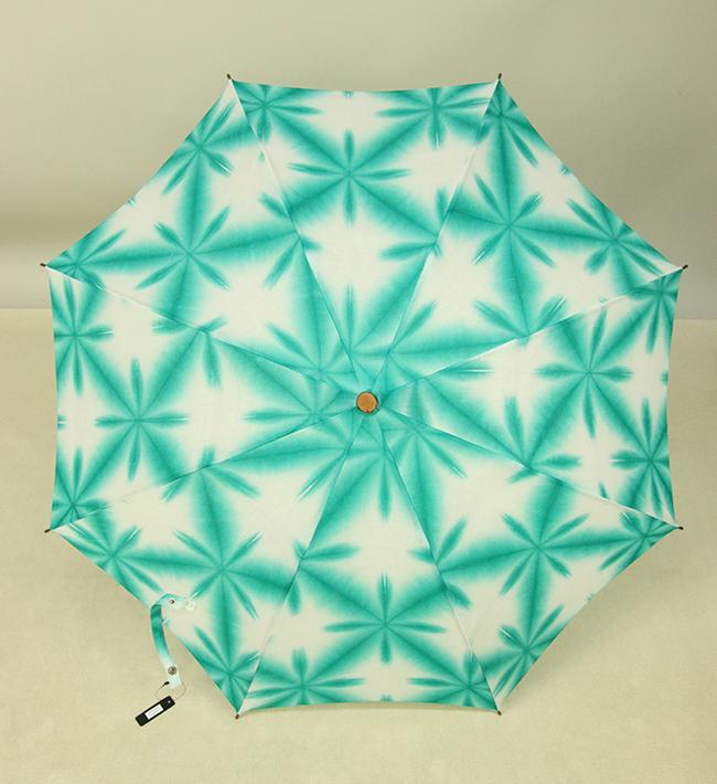 和小物さくら 雪花絞 日傘 UV加工 藤井絞生地使用 青緑×白