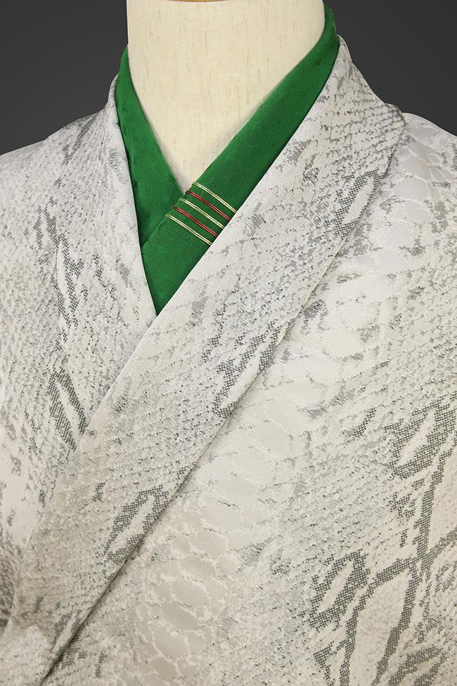柴田織物 正絹お召し着尺 オーダー仕立て付 後染 ダイヤモンドパイソン グレー