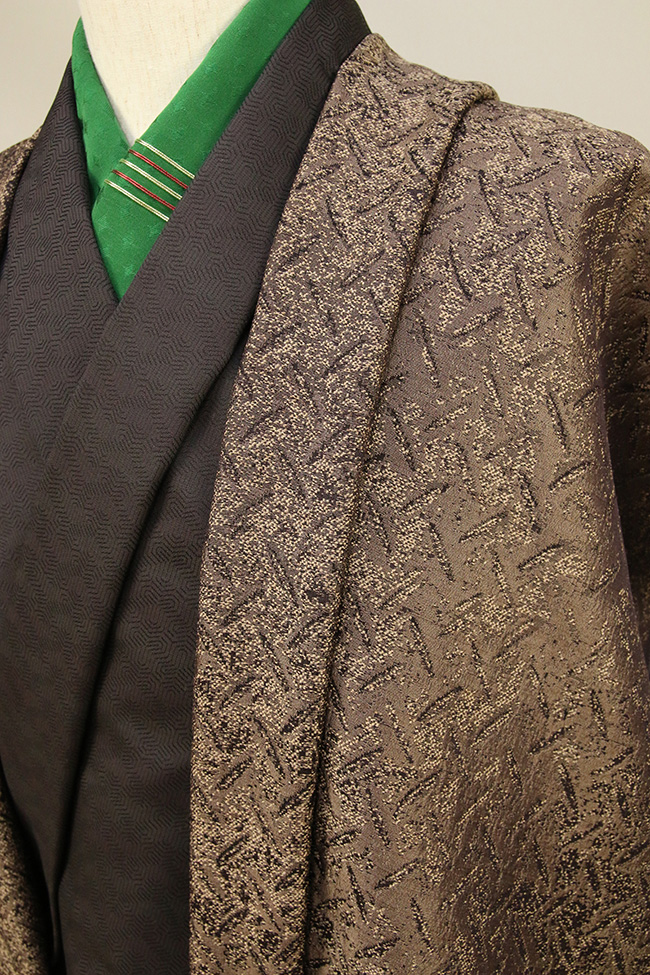 柴田織物 正絹お召し着尺 羽織仕立て付 後染 柿渋縞鋼板 金茶
