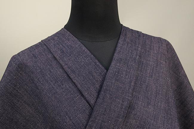 紺仁あやおり 片貝木綿 デニム木綿着物 AB反 オーダーお仕立て付き 紫 D5