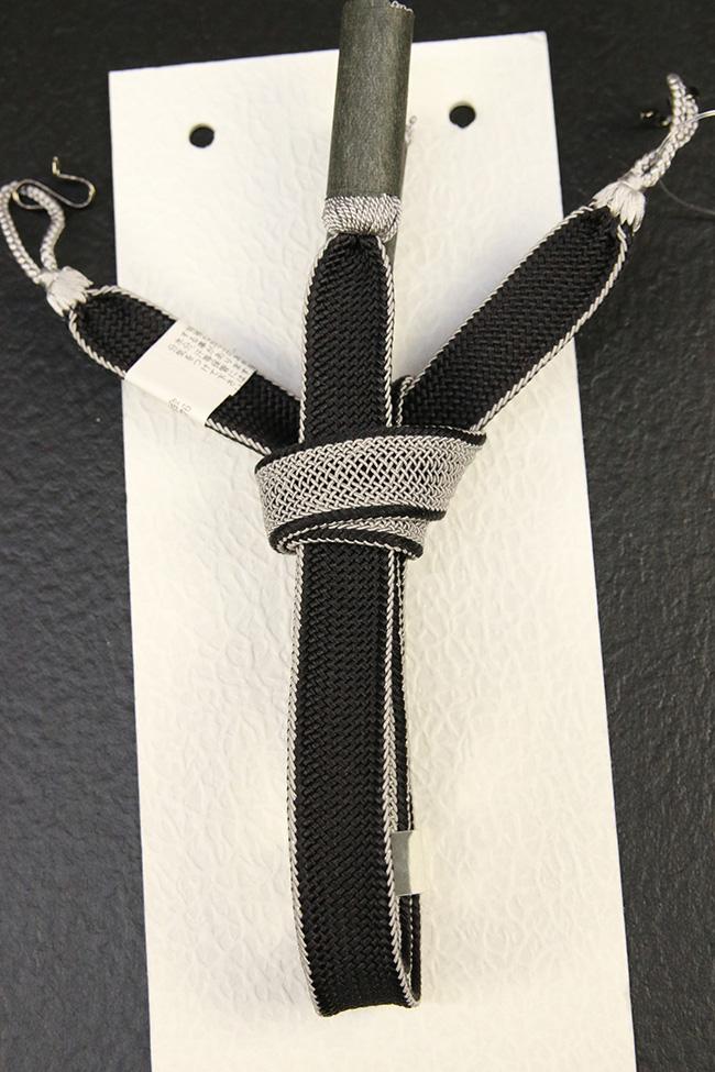和小物さくら 男性用羽織紐 正絹 直付けタイプ レース組両面 黒×灰