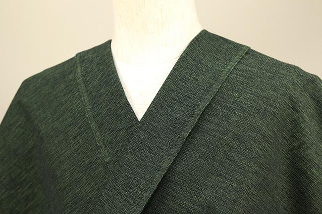 三河木綿 オーダーお仕立付き 洗える普段着着物 沙~いさご~ 黒×黄緑×深緑 48-36-2 ◆男女兼用◆