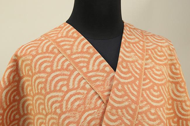 久留米絣 木綿着物 オーダーお仕立て付き 普段着きもの 青海波 橙◆女性にオススメ◆