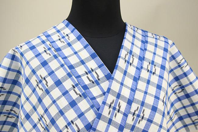 久留米絣 木綿着物 オーダーお仕立て付き 普段着きもの チェック 青×白◆女性にオススメ◆