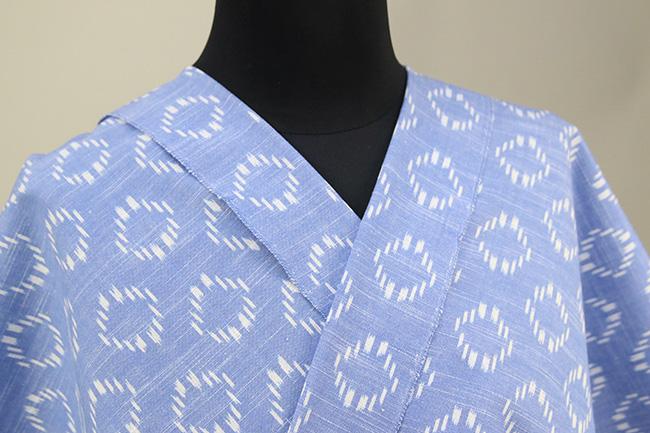 久留米絣 木綿着物 オーダーお仕立て付き 普段着きもの リング 水色◆女性にオススメ◆