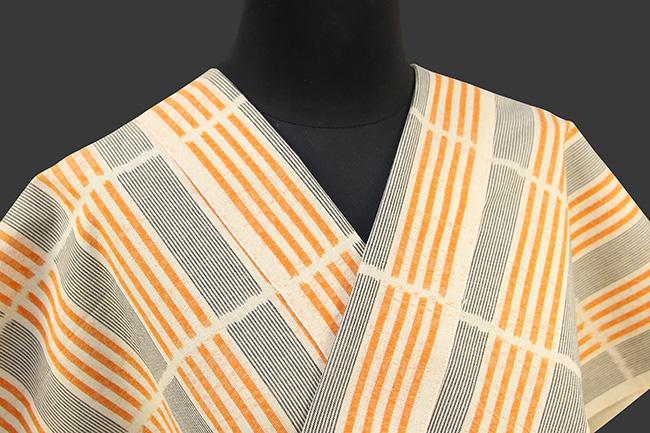 久留米絣 木綿着物 オーダーお仕立て付き 普段着きもの ストライプ 橙×黒◆女性にオススメ◆