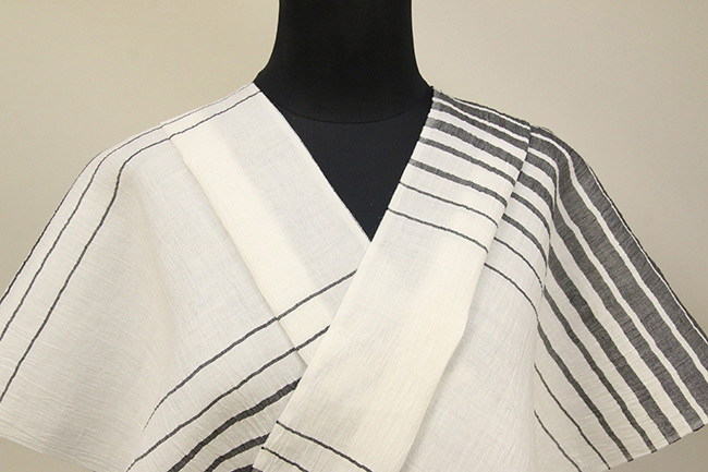 Kimono Factory nono 麻着物 chrome 波紋 白 オーダー仕立て付き