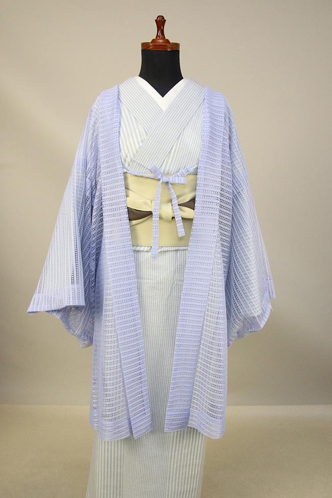 Kimono Factory nono レースの薄羽織 Sheer サックス
