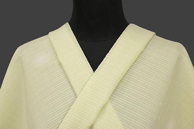夏大島紬  蛍暈し 正絹着尺 反物価格 縞 黄緑