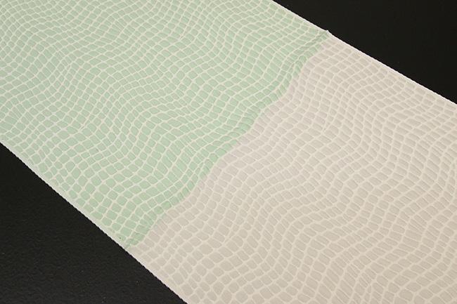 【受注生産品】あづまやオリジナル 帯揚げ ワタマサ クロコダイル グレー×パステルグリーン