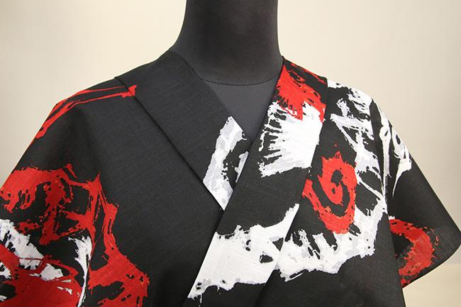itomi浴衣(ゆかた) オーダー仕立て付き 木綿 タツノオトシゴ 黒×赤 ◆男女兼用◆