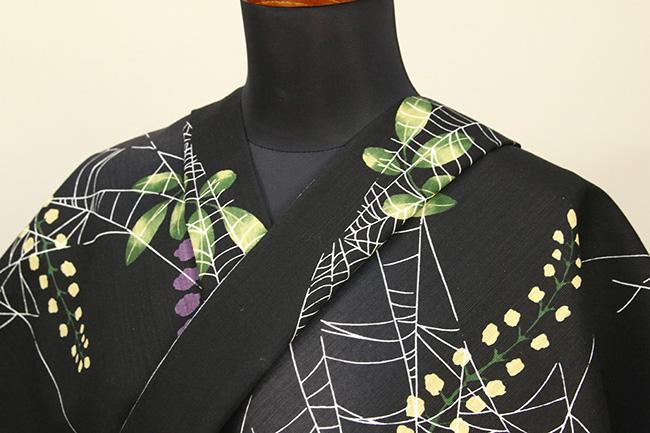 誉田屋源兵衛 綿麻浴衣(ゆかた) オーダー仕立て付き 松園の藤 黒◆男女兼用◆