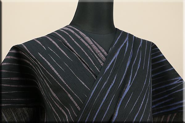 立巻絞浴衣(ゆかた) オーダー仕立て付き 藤井絞 両面染 黒x紫 黒x青 ◆男女兼用◆