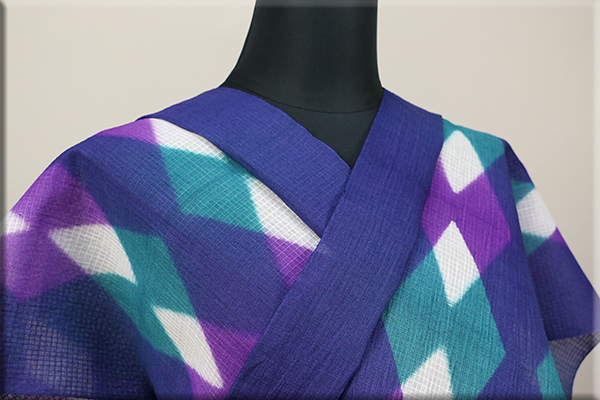 板締め絞浴衣(ゆかた) 綿麻紅梅 オーダー仕立て付き 藤井絞  青紫 ◆女性にオススメ◆