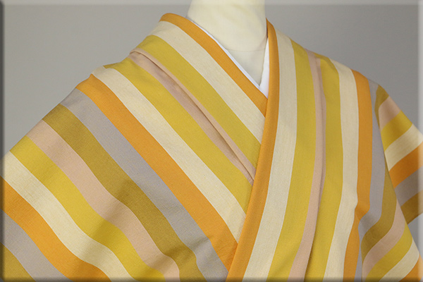 伊勢木綿 木綿着物 オーダーお仕立て付き 縞 オレンジクリームグレーベージュ◆背の高い人にオススメ◆