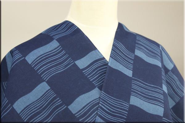 片貝木綿 オーダー仕立て付き 両面藍染め 変わり市松と蝶トンボ 藍