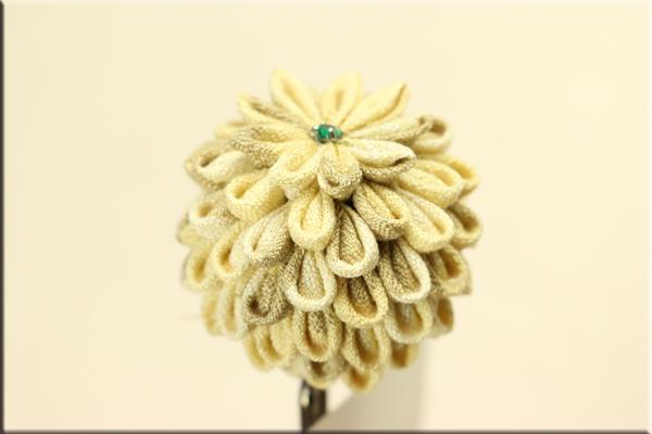 かんざし みかん染め木綿つまみ細工 楠玉かんざし 黄 5220a
