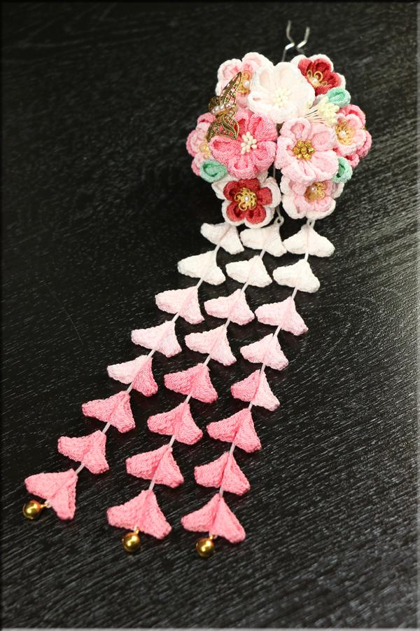 かんざし 縮緬つまみ細工 花かんざし下がり藤付(3本8花) ピンク赤