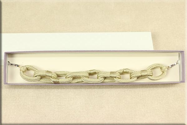 男性用羽織紐 正絹 手作り組紐チェーン ベージュ