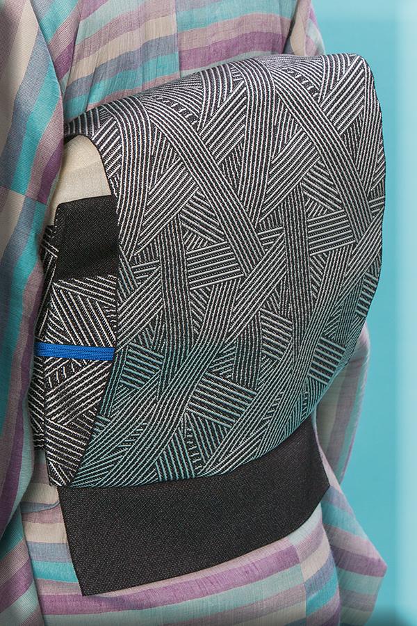 5-9きもの 博多織 八寸名古屋帯 トラフィックジャム 墨 西村織物